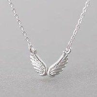 DOUBLE ANGEL WING NECKLACE STERLING SILVER WING NECKLACE ANGEL WING JEWELRY by Kellinsilver.com - Sterling Silver Jewelry Shores as ETSY