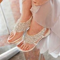 White Silver Studs Sequins around Sandals Flats