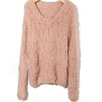 V-neckline Fluffy Sweater