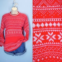 Vintage 70s Sweater / Red Snowflake Ski Lodge Sweater