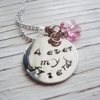 4ever my friend sterling silver filled handstamped necklace with butterfly swarovski crystal