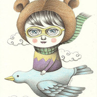 WINTER SALE Original Illustration (Drawing) - Fly on My Bird Plane by Amalia K - 6x8 inches