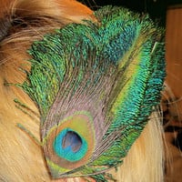 Custom Peacock Feather Hair Accessory
