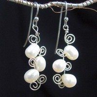 Wire Wrapped Boho Earrings, Dancing Pearls on Swirls