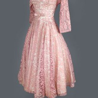 1950&#x27;s Blush Mauve Lace Tea Length Evening Dress - M VINTAGE EVENING COCKTAIL &amp; PROM DRESSES &amp; GOWNS