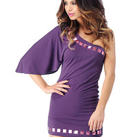 Flouncy One Sleeve Dress With Stud Detail | Sexy Clothes Womens Sexy Dresses Sexy Clubwear Sexy Swimwear | Flirt Catalog