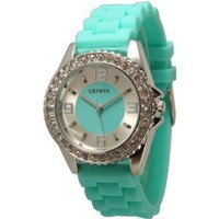 Rhinestones Geneva Silicone Watch  from Kindofbeautiful