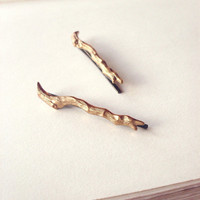 Gold Branch Bobby Pins - Cute Adorable Indie Boho Bohemian Rustic Minimalist Fashion Elegant Romantic Whimsical Dreamy - Woodland Collection