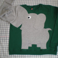 LIMITED EDITION Elephant Trunk sleeve sweatshirt sweater jumper LADiES M Forest Green