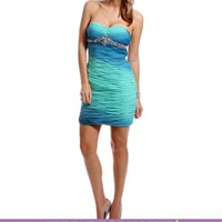 Jeanalee-Turquoise/Mint Ruched Strapless Dress