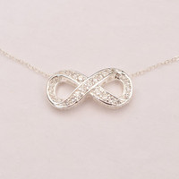 Infinity Necklace With Crystal CZ on Sterling Silver Chain.