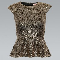 Gold Sequin Peplum Top with Zipper Back