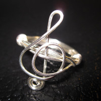 Treble Clef Ring Silver Plated Wire Wrapped Unique Gifts Music
