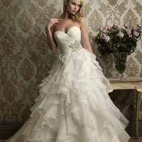 White & Silver Pleated & Ruffled Organza Strapless Sweetheart Embellished Wedding Gown - Unique Vintage - Bridesmaid & Wedding Dresses
