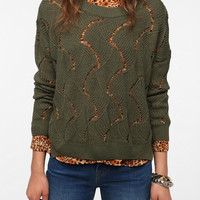 Staring at Stars Sheer Wave Stitch Pullover Sweater