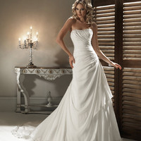 2011 Maggie Sottero Bridal - Ivory Ruched Chiffon Embellished Strapless Havana Wedding Gown - 0 - 28 - Unique Vintage - Bridesmaid &amp; Wedding Dresses