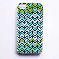 iPhone 4 Case Geometric Chevron Teal Blue Green