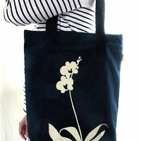SALE Navy Blue Orchid Shoulder Tote Bag