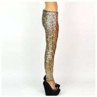 Gold Sequin Stretch Leggings