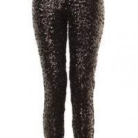 Black Sequin Stretch Leggings