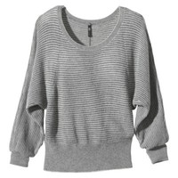 Labworks Petites Striped Pullover Sweater with Detachable Cowl - Gray