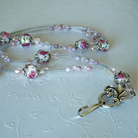 Beaded ID Badge Lanyard, Pink Rosebuds in Faceted Glass,Pink Crystals, Silver Breakaway Style