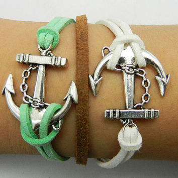 Unisex simple fashion silver anchor  white and green wax rope braided bracelet--brown leather bracelet