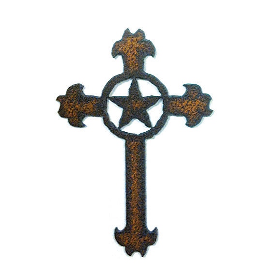 Rustic recycled metal fancy cross with from