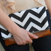 Foldover Chevron Clutch, Bag, zig zag, Purse, black and white