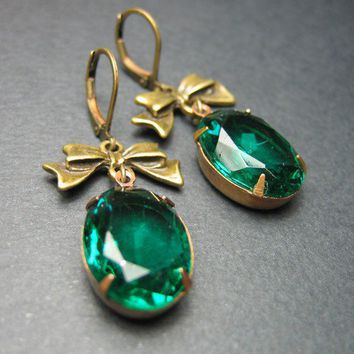 Esmeralda Glass Jewel Earrings Vintage Oval Gems in by floria