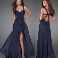 ☞ Sale Stock Navy Blue Chiffon Backless Evening Ball Prom Gown/Skirt US 4 6 8