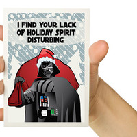 6X Holiday Card Set -  Darth Vader Christmas - I find your lack of holiday spirit disturbing - 5 x 7