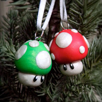 Mario Mushroom Christmas Ornament, Nintendo Geek, Polymer Clay