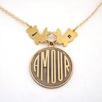personalized amour love bunny necklace - custom stamped rabbit love necklace in french - SILVER or GOLD
