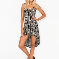 tribal-printed-high-low-dress BLACKKHAKI BLACKWHITE - GoJane.com