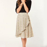 Tulle Apple Seeds Print Midi Skirt
