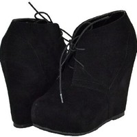 Amazon.com: Bamboo Debrah-01N Black Faux Suede Women Ankle Boots: Shoes