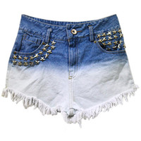 ROMWE | Stars Rivets Gradient Blue Shorts, The Latest Street Fashion