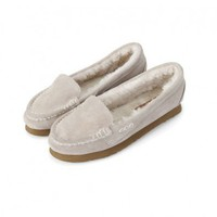 Suede Flat Shoes with Wool Lining
