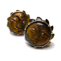 Face of the Sun Tiger Eye and Sterling Silver Cufflinks