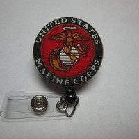 Retractable Badge Reel - United States Marine Corps - USMC - Eagle Globe and Anchor - Badge Holder - Licensed Hobbyist - Swivel Clip