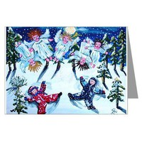 Snow Angels Greeting Cards (Pk of 10)> Greeting Cards Post Cards Note Cards> Renie Britenbucher Artwork