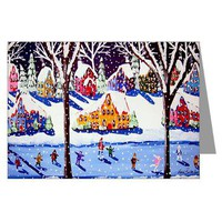Holiday Ice Skate Folk Art Greeting Cards Pk of 10> Greeting Cards Post Cards Note Cards> Renie Britenbucher Artwork