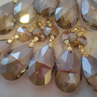 10 Champagne Teardrop Chandelier Crystals Rare Color Shabby Cottage Chic Smoke Gorgeous Crystals