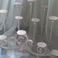 Shabby Chic Fireplace Chandelier Candle Holder Pink Farmhouse Cottage Style Wrought Iron Candelabra Crystals Rose