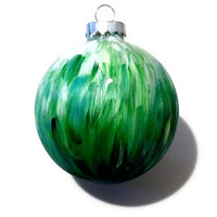 Hand Painted Green Blue Christmas Tree Ornament, Holiday Ornament, Tree Decoration, Tree Bulb
