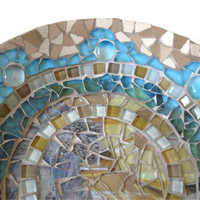 Plate Glass Mosaic Brown Turquoise Ceramic porcelaine Wall Art Hanging Home Decoration easel  Nuggets