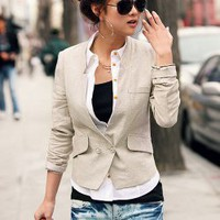 Fashionable Deep V-Neck M Size Beige Long Sleeves Coat--Women&#x27;s Coats China Wholesale - Sammydress.com