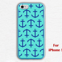 iPhone 5 Case, Nautical Anchor iphone 5 case, mint green and navy blue anchor iphone 5 case, iphone case