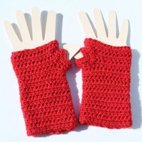 Fingerless Gloves Red Sparkle Yarn